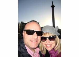 howard and jen enjoying a cold winter's day in london while taking in trafalgar square